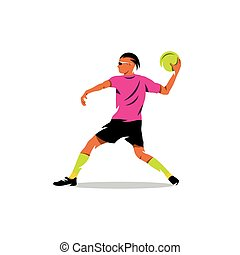 Vector Dodgeball Cartoon Illustration. - Man preparing to...