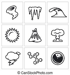 Vector Set of Cataclysm Icons Tornado, Frost, Tsunami,...