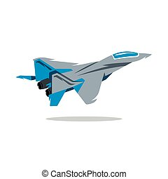 Vector Russian Fighter plane. Cartoon Illustration. - Jet in...