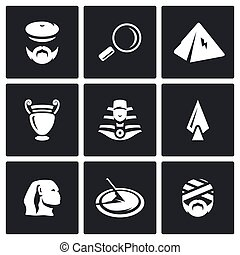 Vector Set of Egypt Icons. Archaeology, Search, Research,...