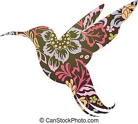 Colibri ornamental tattoo - Colibri silhouette shaped into...