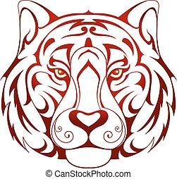 Tiger head tattoo shape on white backdrop