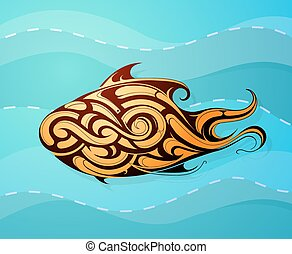 Fish decorative tattoo shape - Decorative fish as ethnic...