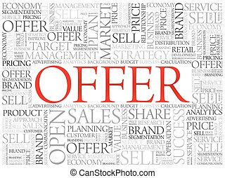 Offer word cloud, business concept background