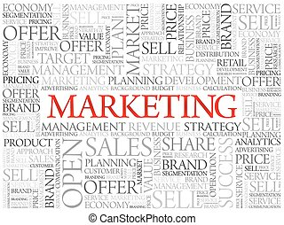 Marketing word cloud, business concept background
