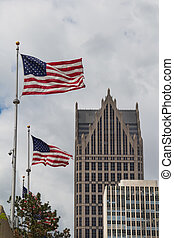 American flags and skyscrapers, Detroit, USA