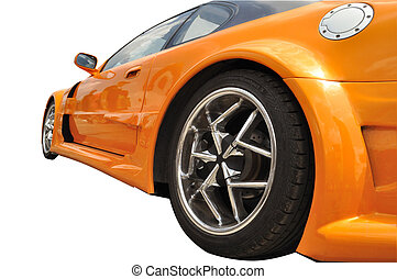 extreme car - orange extreme car with modern wheel rims on...
