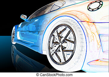 futuristic car - blue futuristic car with color edges and...