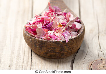 Homeopathic spa. - Homeopathic medicine; flower dry petals...