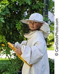 niño, marco, apicultor, joven, tenencia, Panal