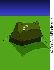 Asleep in tent - Illustration of a sleeping person in a tent...