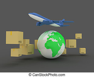 International package delivery concept 3d concept
