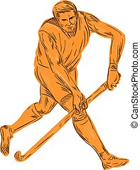 Field Hockey Player Running With Stick Drawing - Drawing...