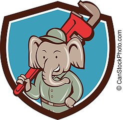 Elephant Plumber Monkey Wrench Crest Cartoon - Illustration...