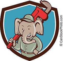 Elephant Plumber Monkey Wrench Crest Cartoon - Illustration...