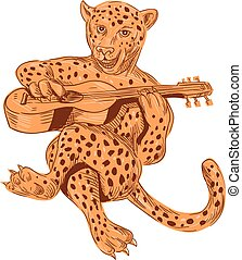 Jaguar Playing Guitar Drawing - Drawing sketch style...