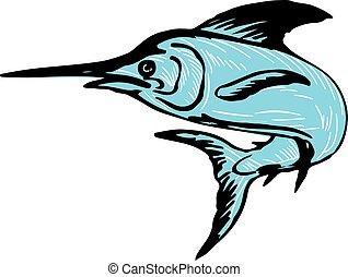 Blue Marlin Fish Jumping Drawing