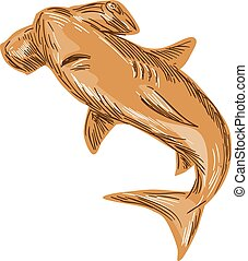Hammerhead Shark Drawing - Drawing sketch style illustration...
