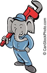 Elephant Plumber Monkey Wrench Cartoon - Illustration of an...