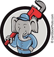 Elephant Plumber Monkey Wrench Circle Cartoon - Illustration...