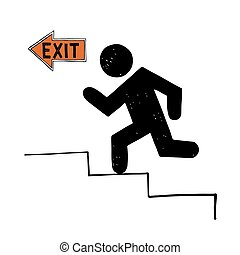 Fire evacuation vector sign isolated on white.