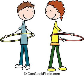 Happy kids playing - Cartoon illustration of a boy and girl...