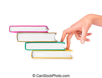 Fingers moving up hardback book steps concept for learning,...