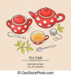 tea set red - Illustration with cup of tea, teapot and sugar...