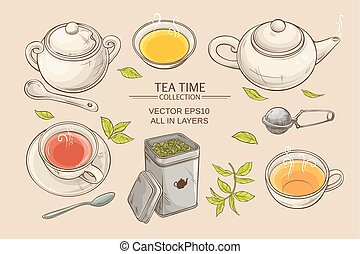 tea set - Vector set with cups, teapot, sugar bowl, tin...