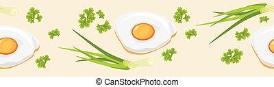 Fried eggs Seamless banner Vector illustration