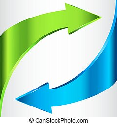 Arrows Sign. Blue Green Color. Isolated On White. - Arrows...