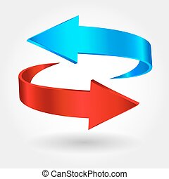 Red and blue arrows are moving towards Arrows sign isolated...