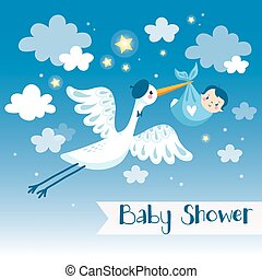 Baby boy shower invitation card with stork.