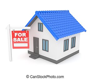 House real estate for rent 3D rendering - Miniature model of...