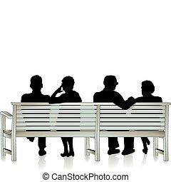 Senior, medborgare, Parkera, bänk