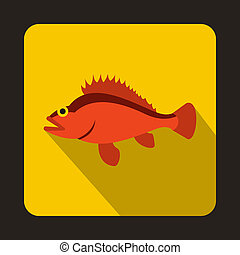 Rose fish, Sebastes norvegicus icon, flat style - icon in...