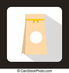 Tea packed in a paper bag icon, flat style - icon in flat...