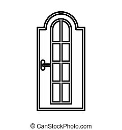 Arched wooden door with glass icon