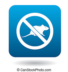 No rat sign icon, simple style - No rat sign icon in simple...