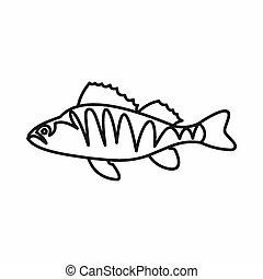 European perch, Perca fluviatilis icon in outline style...