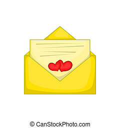 Love letter icon, cartoon style - Love letter icon in...