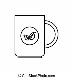 Cup of tea icon, outline style - Cup of tea icon in outline...
