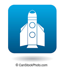 Space shuttle rocket launch icon, flat style