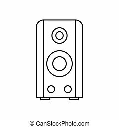 Black sound speaker icon, outline style - Black sound...