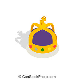 Crown English monarchs icon, isometric 3d style - Crown...