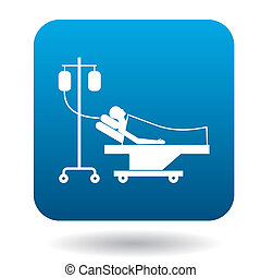 Patient in bed on a drip icon, simple style