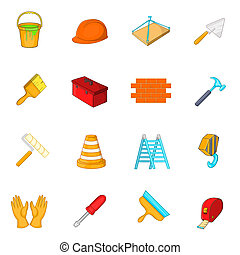 Working tools icons set, cartoon style - Working tools icons...
