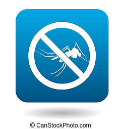 No mosquito sign icon, simple style - No mosquito sign icon...