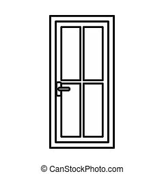 Glass door icon, outline style