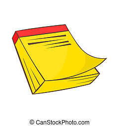 Yellow notebook icon in cartoon style - icon in cartoon...